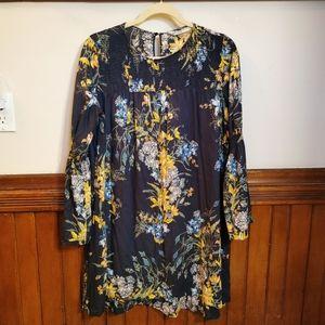 Zara Floral Long Sleeve Tent Dress w Flowy Sleeves